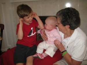 Nicholas making cousin Isabella and nana laugh