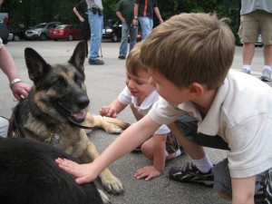 Nicholas with Make a wish dog
