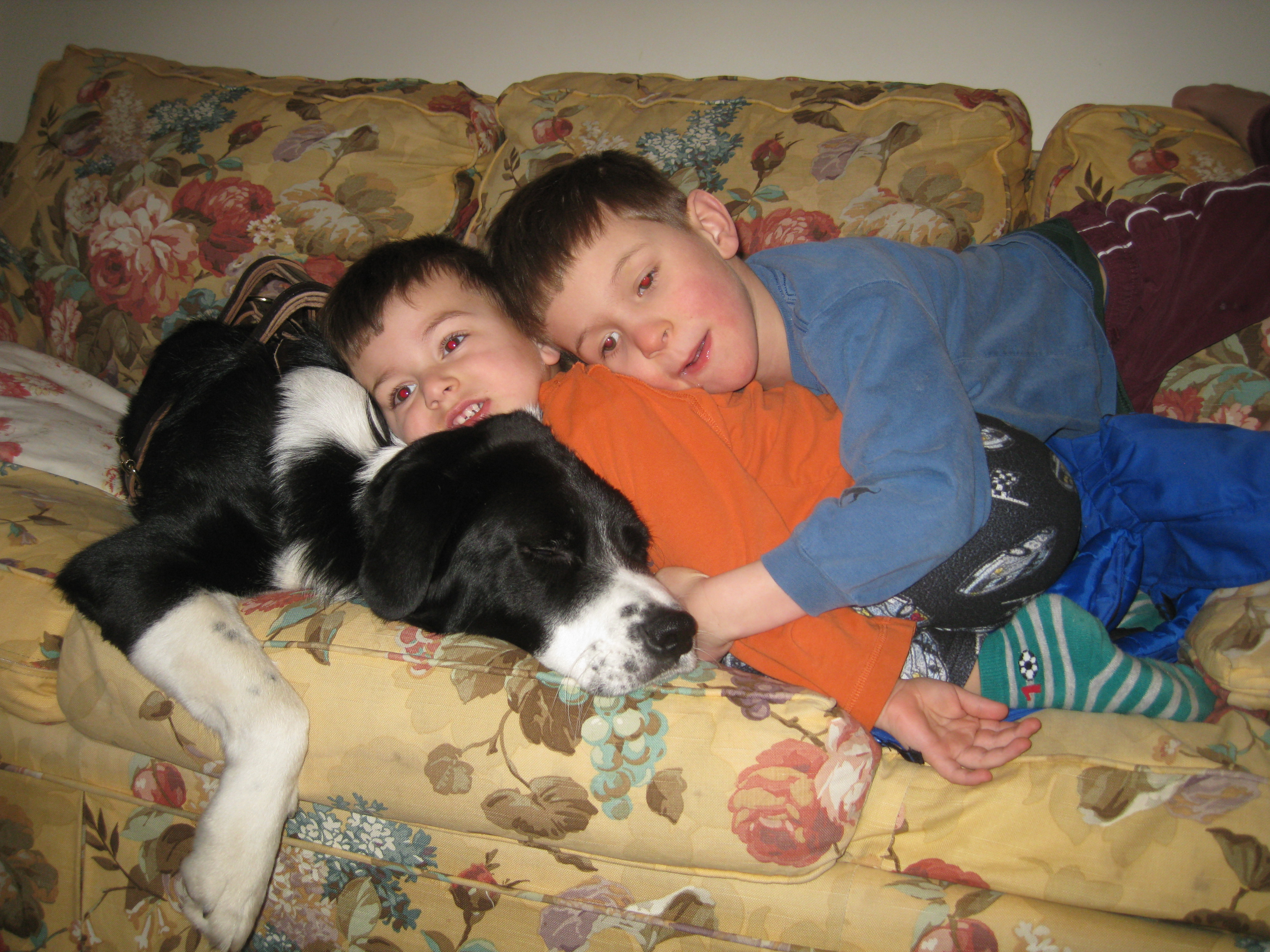 Nicholas and William loving their dog!